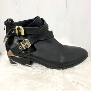 Seychelles Black Booties with Gold Details